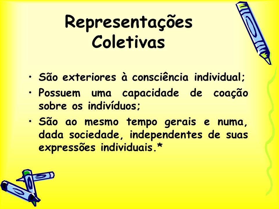 Representações Coletivas São exteriores à consciência individual; Possuem uma capacidade de coação sobre os indivíduos; São ao mesmo tempo gerais e nu
