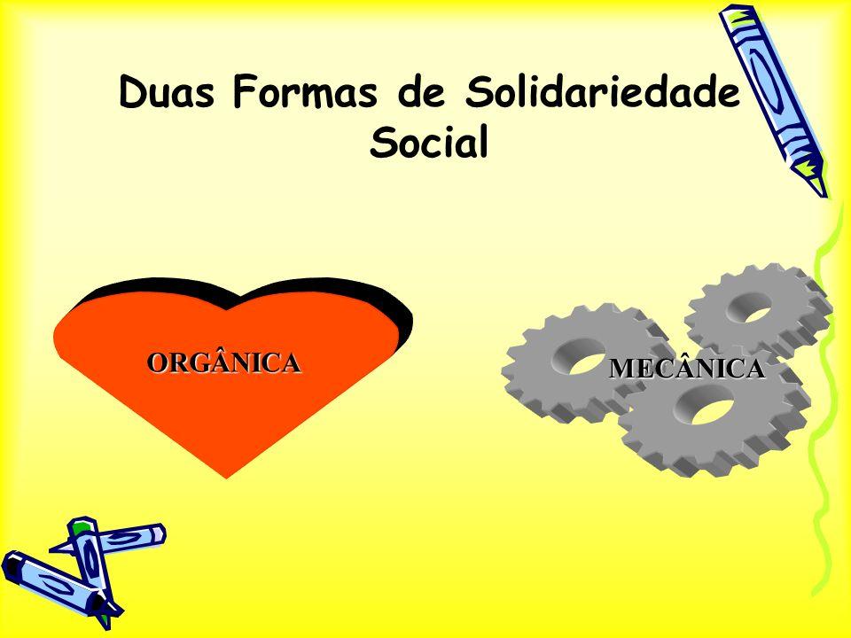 Duas Formas de Solidariedade Social ORGÂNICA MECÂNICA