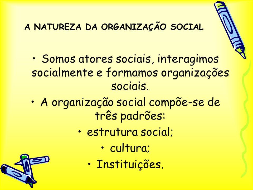 A NATUREZA DA ORGANIZAÇÃO SOCIAL Somos atores sociais, interagimos socialmente e formamos organizações sociais. A organização social compõe-se de três