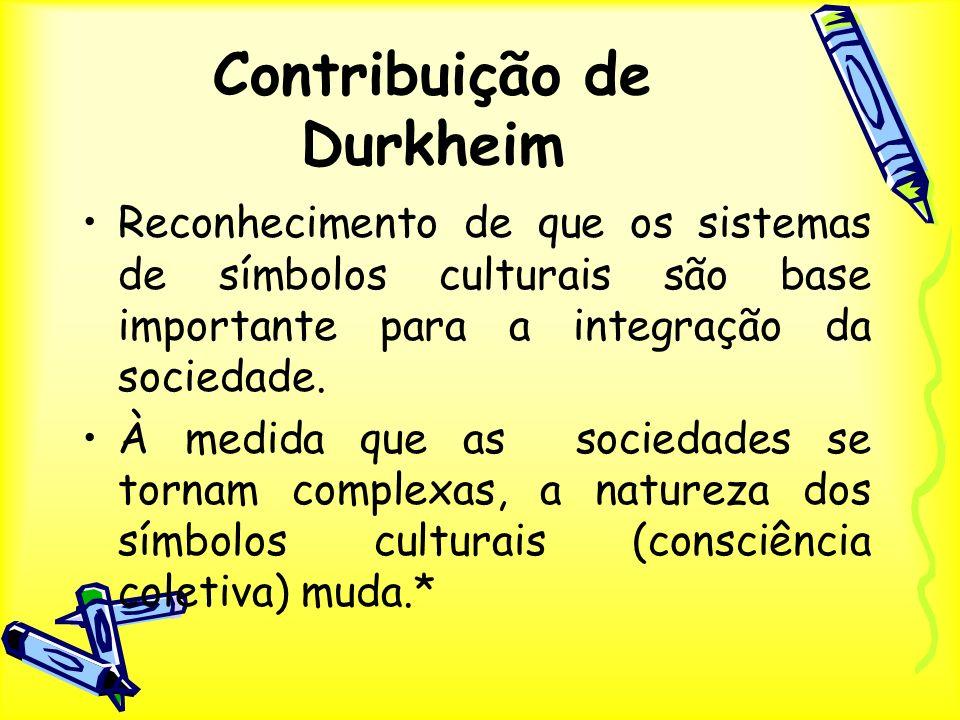 Contribuição de Durkheim Reconhecimento de que os sistemas de símbolos culturais são base importante para a integração da sociedade. À medida que as s
