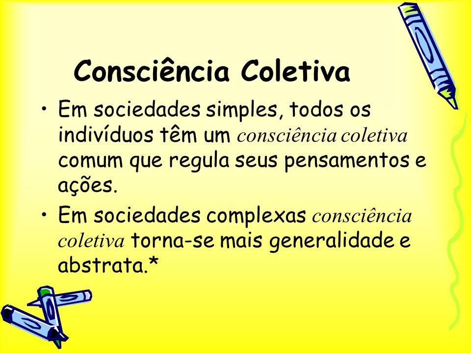 Consciência Coletiva Em sociedades simples, todos os indivíduos têm um consciência coletiva comum que regula seus pensamentos e ações. Em sociedades c