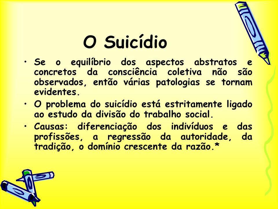 O Suicídio Se o equilíbrio dos aspectos abstratos e concretos da consciência coletiva não são observados, então várias patologias se tornam evidentes.