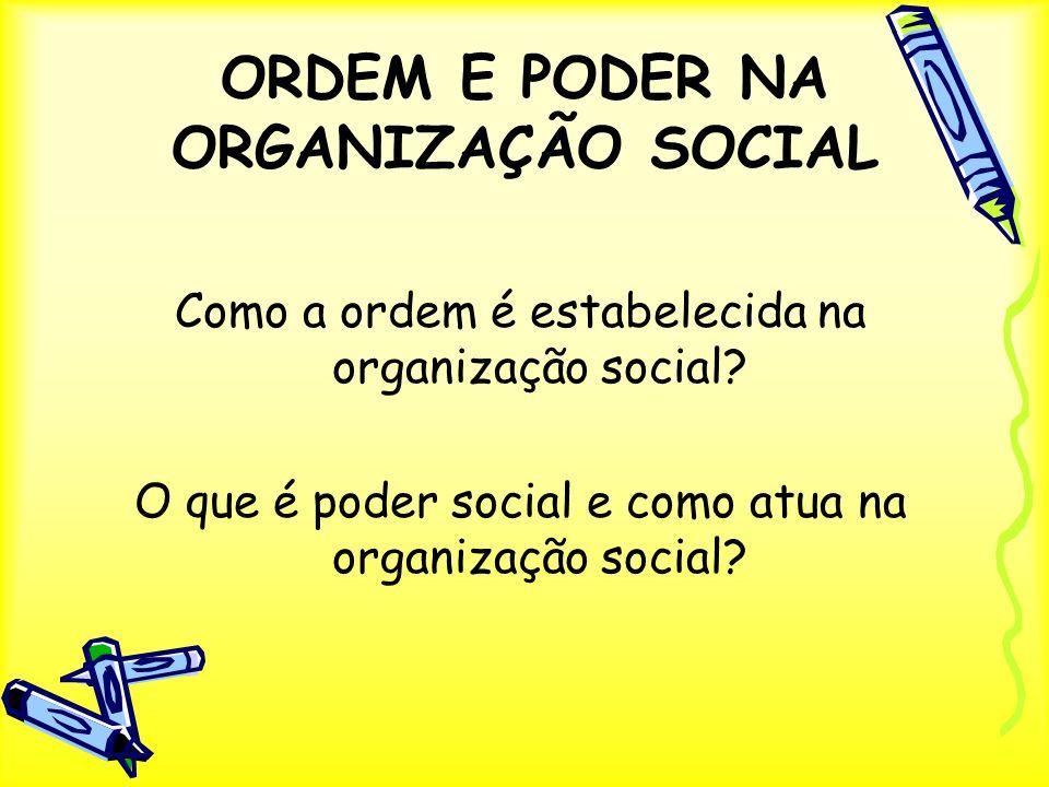 ORDEM E PODER NA ORGANIZAÇÃO SOCIAL Como a ordem é estabelecida na organização social? O que é poder social e como atua na organização social?