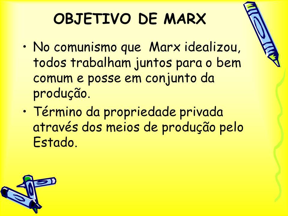 OBJETIVO DE MARX No comunismo que Marx idealizou, todos trabalham juntos para o bem comum e posse em conjunto da produção. Término da propriedade priv