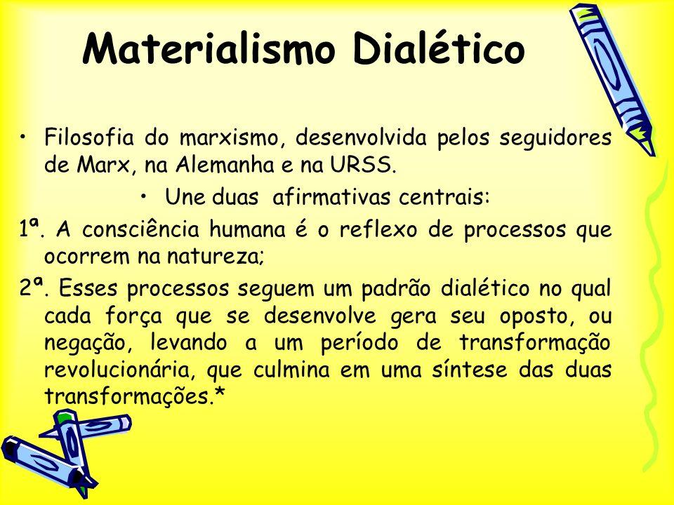Materialismo Dialético Filosofia do marxismo, desenvolvida pelos seguidores de Marx, na Alemanha e na URSS. Une duas afirmativas centrais: 1ª. A consc