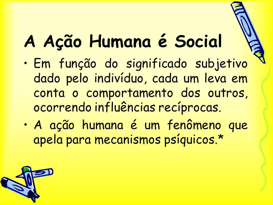 A Ação Humana é Social Em função do significado subjetivo dado pelo indivíduo, cada um leva em conta o comportamento dos outros, ocorrendo influências