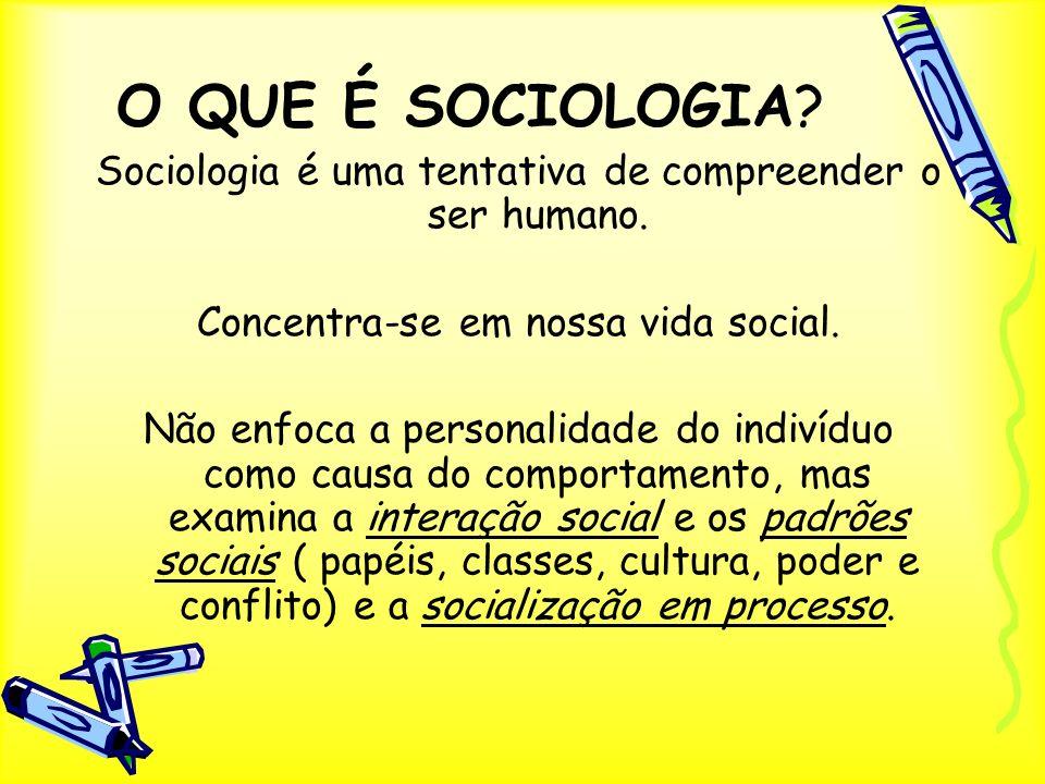 O QUE É SOCIOLOGIA? Sociologia é uma tentativa de compreender o ser humano. Concentra-se em nossa vida social. Não enfoca a personalidade do indivíduo