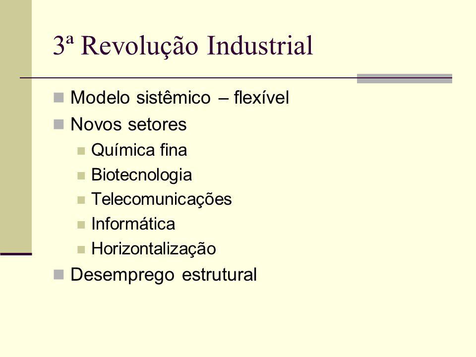 3ª Revolução Industrial Modelo sistêmico – flexível Novos setores Química fina Biotecnologia Telecomunicações Informática Horizontalização Desemprego