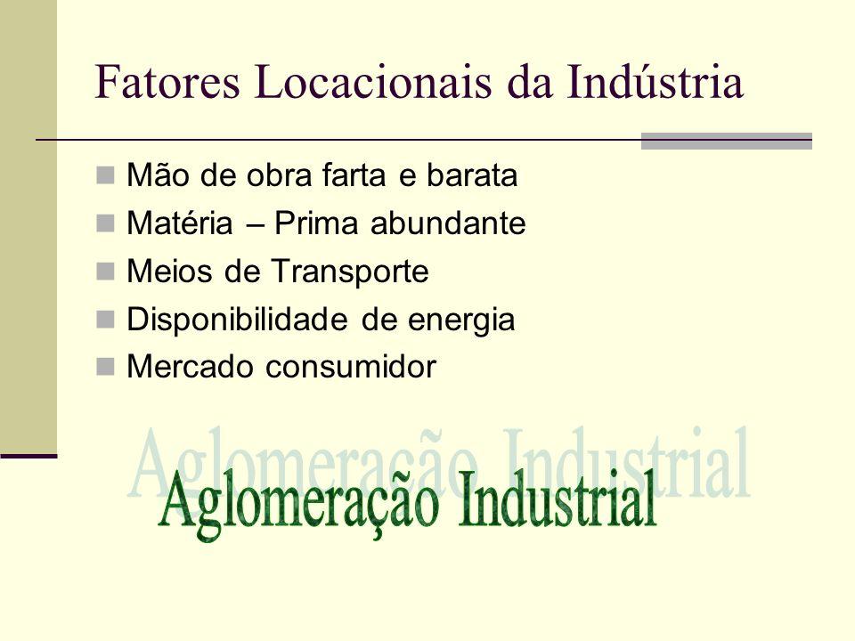 Fatores Locacionais da Indústria Mão de obra farta e barata Matéria – Prima abundante Meios de Transporte Disponibilidade de energia Mercado consumido