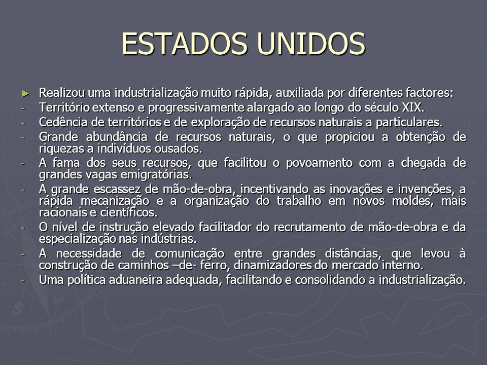 ESTADOS UNIDOS Realizou uma industrialização muito rápida, auxiliada por diferentes factores: Realizou uma industrialização muito rápida, auxiliada po