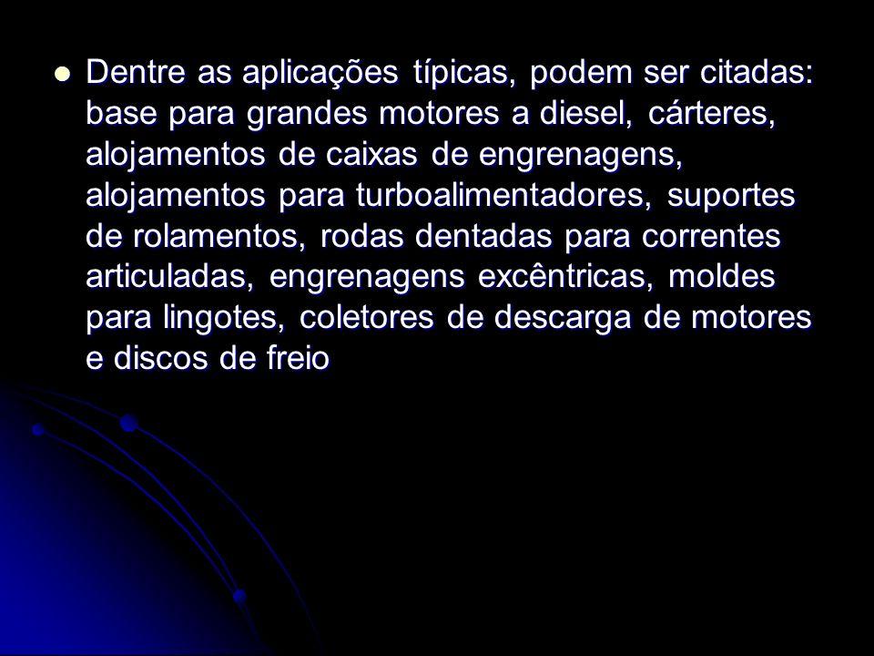 Dentre as aplicações típicas, podem ser citadas: base para grandes motores a diesel, cárteres, alojamentos de caixas de engrenagens, alojamentos para turboalimentadores, suportes de rolamentos, rodas dentadas para correntes articuladas, engrenagens excêntricas, moldes para lingotes, coletores de descarga de motores e discos de freio Dentre as aplicações típicas, podem ser citadas: base para grandes motores a diesel, cárteres, alojamentos de caixas de engrenagens, alojamentos para turboalimentadores, suportes de rolamentos, rodas dentadas para correntes articuladas, engrenagens excêntricas, moldes para lingotes, coletores de descarga de motores e discos de freio
