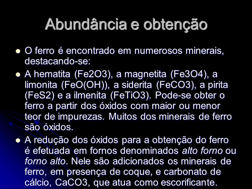 Abundância e obtenção O ferro é encontrado em numerosos minerais, destacando-se: O ferro é encontrado em numerosos minerais, destacando-se: A hematita (Fe2O3), a magnetita (Fe3O4), a limonita (FeO(OH)), a siderita (FeCO3), a pirita (FeS2) e a ilmenita (FeTiO3).