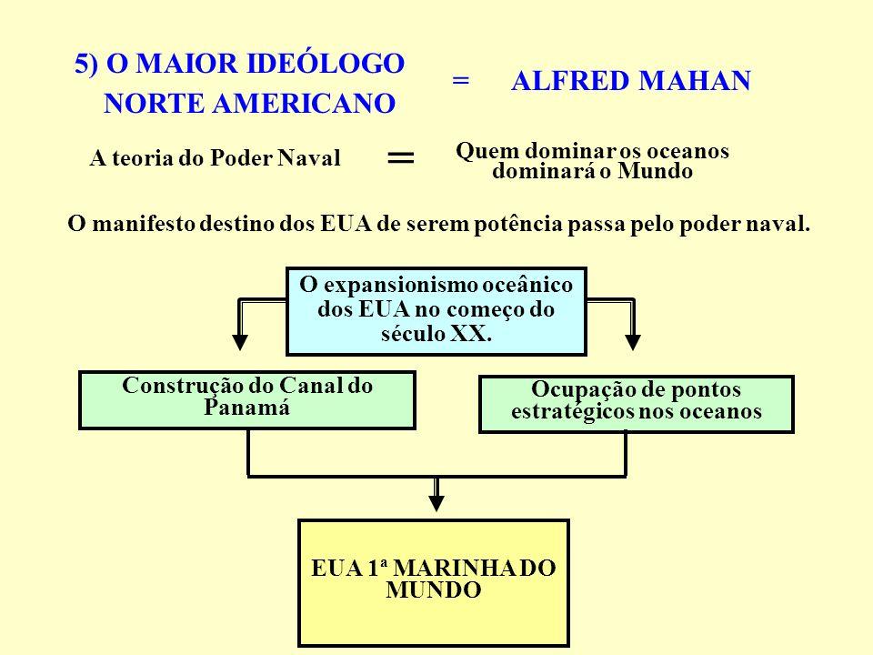 5) O MAIOR IDEÓLOGO NORTE AMERICANO = ALFRED MAHAN O manifesto destino dos EUA de serem potência passa pelo poder naval. A teoria do Poder Naval Quem