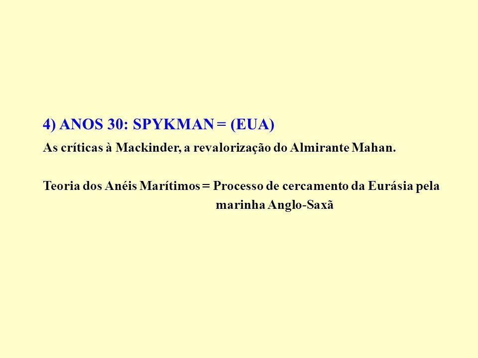 4) ANOS 30: SPYKMAN = (EUA) As críticas à Mackinder, a revalorização do Almirante Mahan. Teoria dos Anéis Marítimos = Processo de cercamento da Eurási