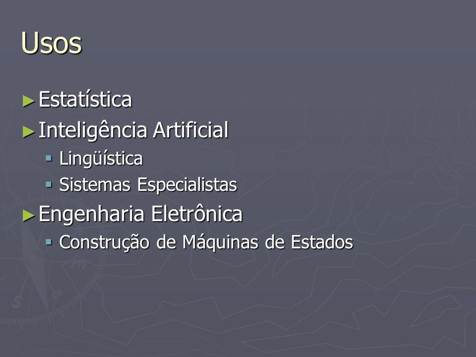 Usos Estatística Estatística Inteligência Artificial Inteligência Artificial Lingüística Lingüística Sistemas Especialistas Sistemas Especialistas Eng