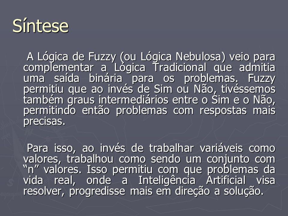 Síntese A Lógica de Fuzzy (ou Lógica Nebulosa) veio para complementar a Lógica Tradicional que admitia uma saída binária para os problemas. Fuzzy perm