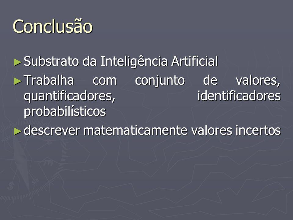 Conclusão Substrato da Inteligência Artificial Substrato da Inteligência Artificial Trabalha com conjunto de valores, quantificadores, identificadores