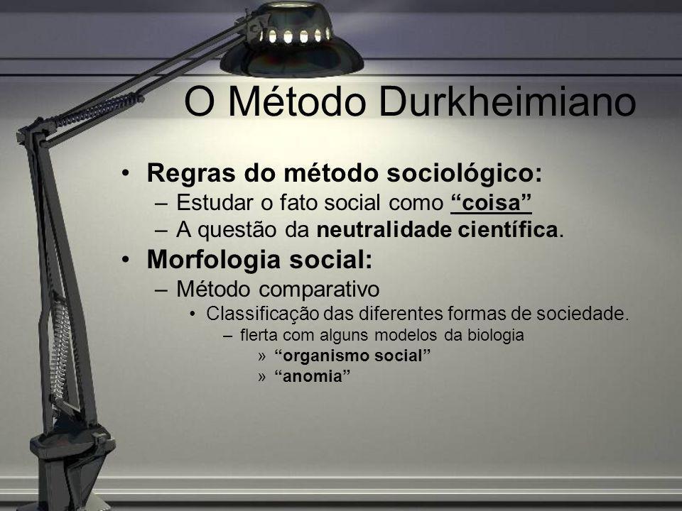 O Método Durkheimiano Regras do método sociológico: –Estudar o fato social como coisa –A questão da neutralidade científica. Morfologia social: –Métod
