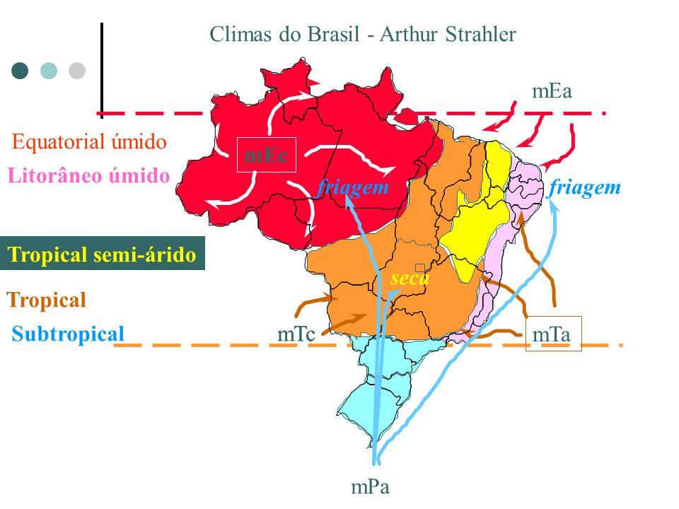 Climas do Brasil - Arthur Strahler Equatorial úmido mEc Litorâneo úmido mEa mTa Tropical semi-árido Tropical mTc Subtropical mPa friagem seca