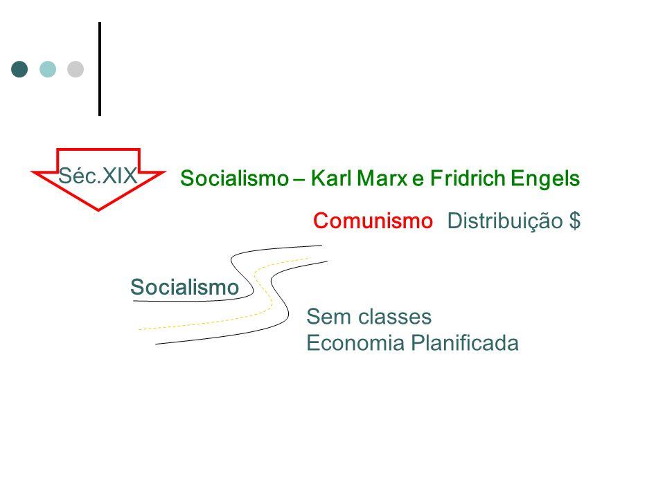 ComunismoDistribuição $ Sem classes Economia Planificada Séc.XIX Socialismo – Karl Marx e Fridrich Engels Socialismo