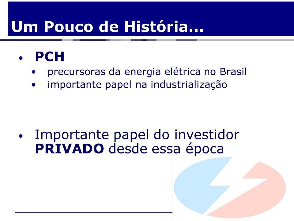 PCH precursoras da energia elétrica no Brasil importante papel na industrialização Importante papel do investidor PRIVADO desde essa época Um Pouco de