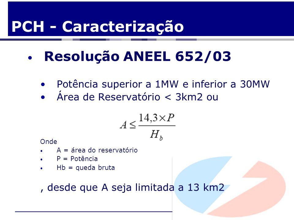 Resolução ANEEL 652/03 Potência superior a 1MW e inferior a 30MW Área de Reservatório < 3km2 ou Onde A = área do reservatório P = Potência Hb = queda