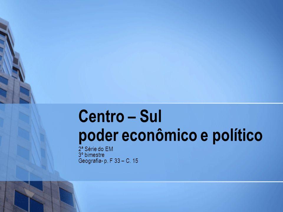 Centro – Sul poder econômico e político 2ª Série do EM 3º bimestre Geografia- p. F 33 – C. 15