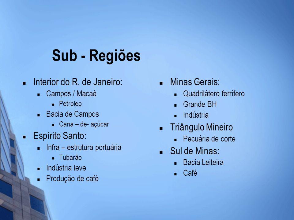 Sub - Regiões Interior do R. de Janeiro: Campos / Macaé Petróleo Bacia de Campos Cana – de- açúcar Espírito Santo: Infra – estrutura portuária Tubarão