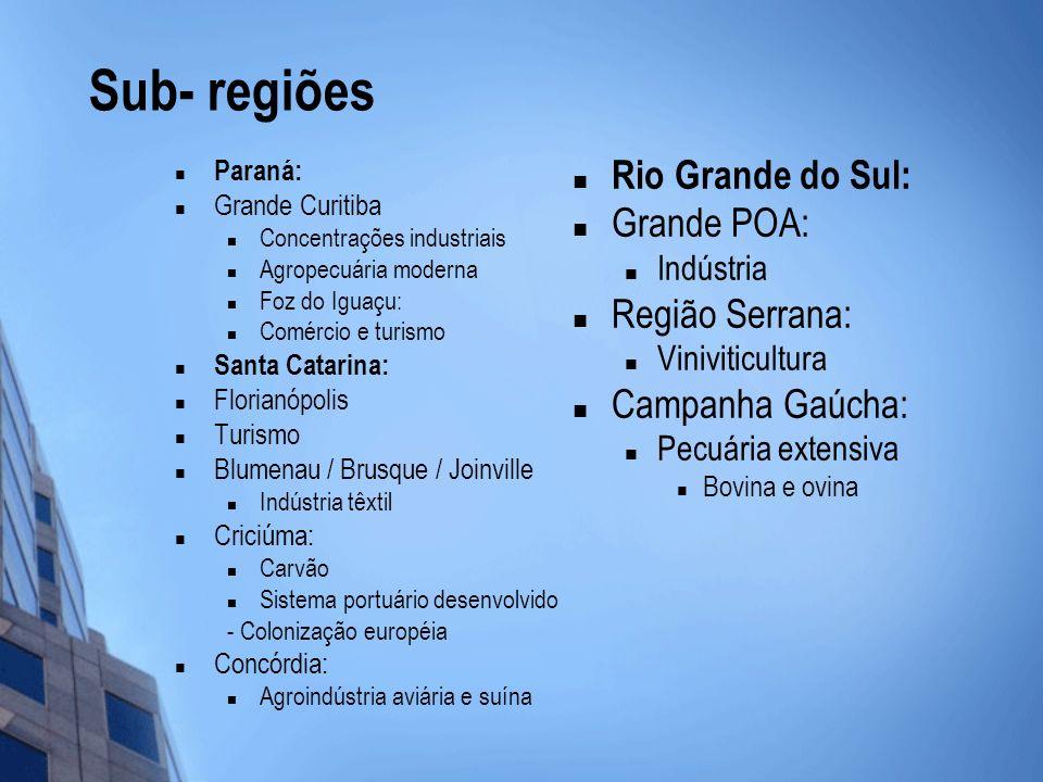 Sub- regiões Paraná: Grande Curitiba Concentrações industriais Agropecuária moderna Foz do Iguaçu: Comércio e turismo Santa Catarina: Florianópolis Tu