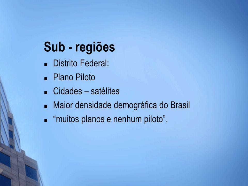 Sub - regiões Distrito Federal: Plano Piloto Cidades – satélites Maior densidade demográfica do Brasil muitos planos e nenhum piloto.