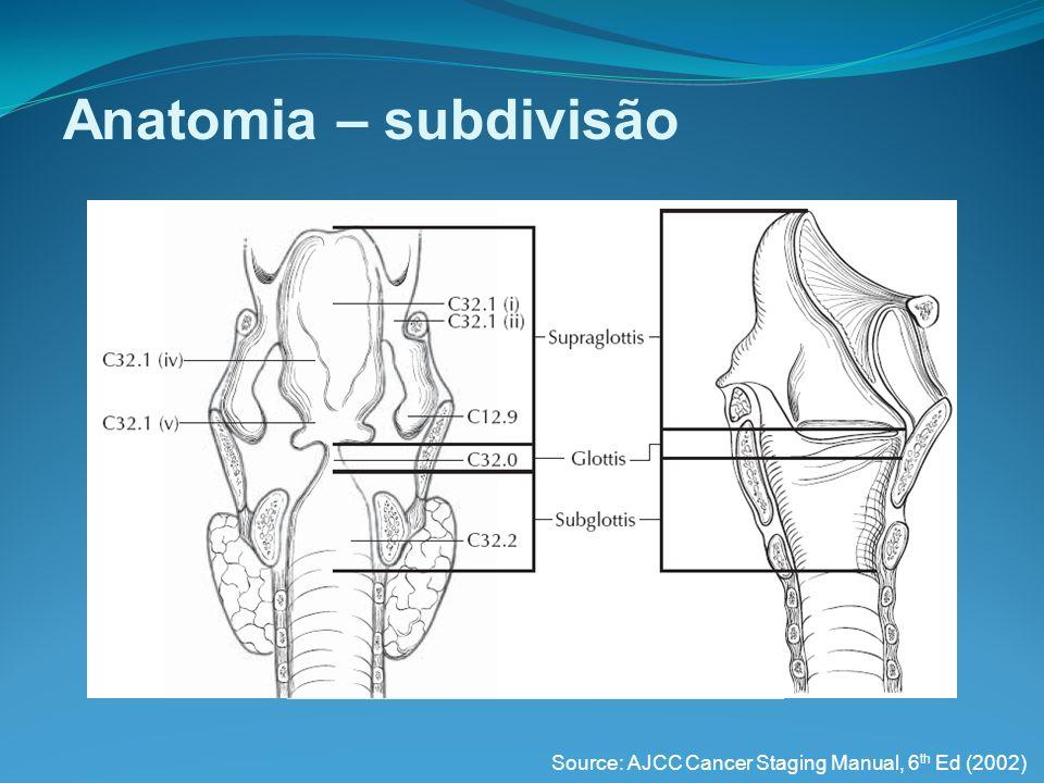 Tu de laringe Biópsia e histologia Microlaringoscopia direta com biópsia Histologia: CARCINOMA EPIDERMÓIDE (>90%) Histo normal hiperplasia displasia ca in situ ca invasivo Tabaco + alcool