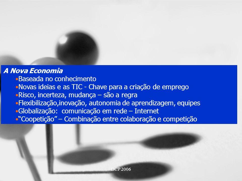 DCP 2006 A Nova Economia Baseada no conhecimento Novas ideias e as TIC - Chave para a criação de emprego Risco, incerteza, mudança – são a regra Flexibilização,inovação, autonomia de aprendizagem, equipes Globalização: comunicação em rede – Internet Coopetição – Combinação entre colaboração e competição
