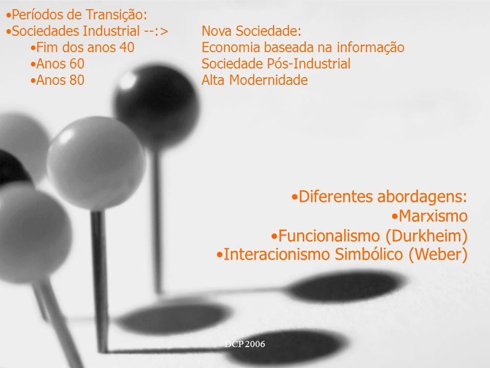 DCP 2006 Períodos de Transição: Sociedades Industrial --:>Nova Sociedade: Fim dos anos 40Economia baseada na informação Anos 60Sociedade Pós-Industrial Anos 80Alta Modernidade Diferentes abordagens: Marxismo Funcionalismo (Durkheim) Interacionismo Simbólico (Weber)