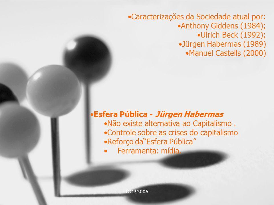 DCP 2006 Caracterizações da Sociedade atual por: Anthony Giddens (1984); Ulrich Beck (1992); Jürgen Habermas (1989) Manuel Castells (2000) Esfera Pública - Jürgen Habermas Não existe alternativa ao Capitalismo.