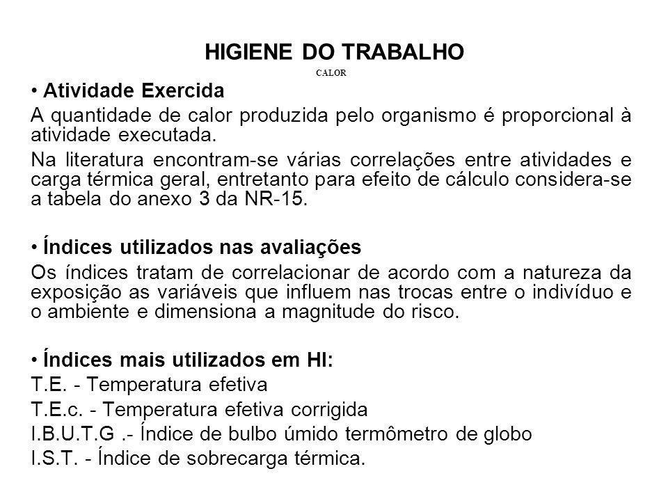 HIGIENE DO TRABALHO CALOR Atividade Exercida A quantidade de calor produzida pelo organismo é proporcional à atividade executada. Na literatura encont
