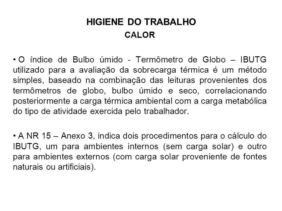 HIGIENE DO TRABALHO CALOR O índice de Bulbo úmido - Termômetro de Globo – IBUTG utilizado para a avaliação da sobrecarga térmica é um método simples,