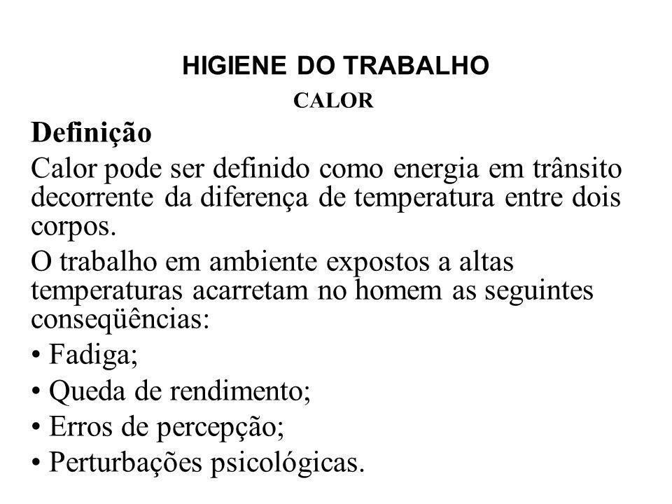 HIGIENE DO TRABALHO CALOR Definição Calor pode ser definido como energia em trânsito decorrente da diferença de temperatura entre dois corpos. O traba
