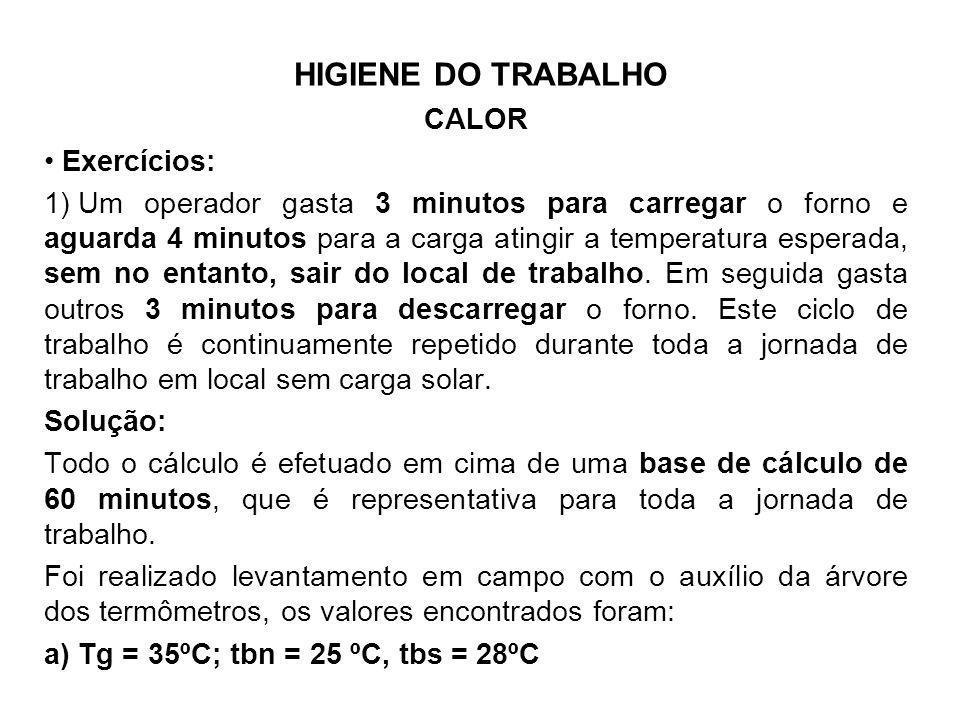 HIGIENE DO TRABALHO CALOR Exercícios: 1) Um operador gasta 3 minutos para carregar o forno e aguarda 4 minutos para a carga atingir a temperatura espe