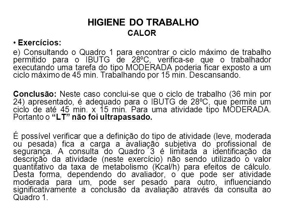 HIGIENE DO TRABALHO CALOR Exercícios: e) Consultando o Quadro 1 para encontrar o ciclo máximo de trabalho permitido para o IBUTG de 28ºC, verifica-se