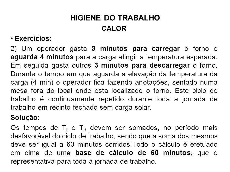 HIGIENE DO TRABALHO CALOR Exercícios: 2) Um operador gasta 3 minutos para carregar o forno e aguarda 4 minutos para a carga atingir a temperatura espe