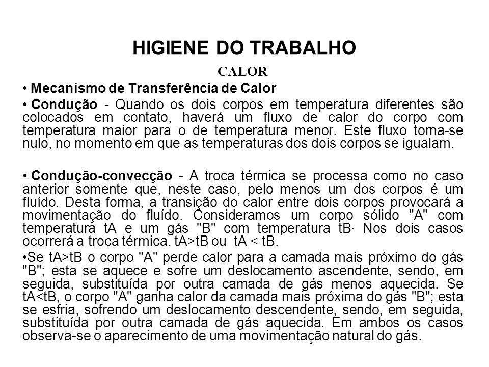 HIGIENE DO TRABALHO CALOR Exercícios: a) Mediante as medições em campo os valores encontrados, foram: Local de descanso: tg = 28ºC, tbn = 20ºC; Local de trabalho: tg = 54ºC, tbn = 22ºC; b) Definir o tipo de atividade (quadro 03): MODERADA c) Calcular IBUTG t e o metabolismo em função do tipo de atividade: IBUTG t = 0,7tbn + 0,3tg IBUTG t = 0,7x22 + 0,3x54 IBUTG t = 31,6ºC M t = 300 Kcal/h d)Calcular IBUTG d = 0,7tbn + 0,3tg IBUTG t = 0,7x20 + 0,3x28 IBUTG d = 22,4ºC M d = 125 Kcal/h