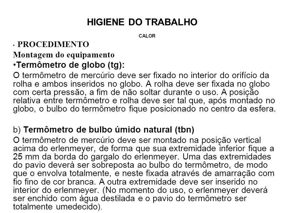 HIGIENE DO TRABALHO CALOR PROCEDIMENTO Montagem do equipamento Termômetro de globo (tg): O termômetro de mercúrio deve ser fixado no interior do orifí