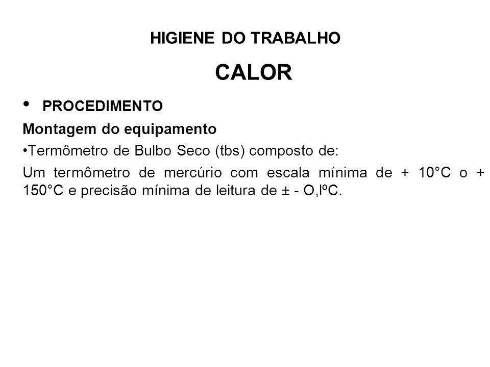 HIGIENE DO TRABALHO CALOR PROCEDIMENTO Montagem do equipamento Termômetro de Bulbo Seco (tbs) composto de: Um termômetro de mercúrio com escala mínima