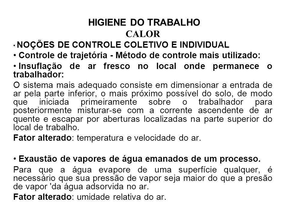 HIGIENE DO TRABALHO CALOR NOÇÕES DE CONTROLE COLETIVO E INDIVIDUAL Controle de trajetória - Método de controle mais utilizado: Insuflação de ar fresco