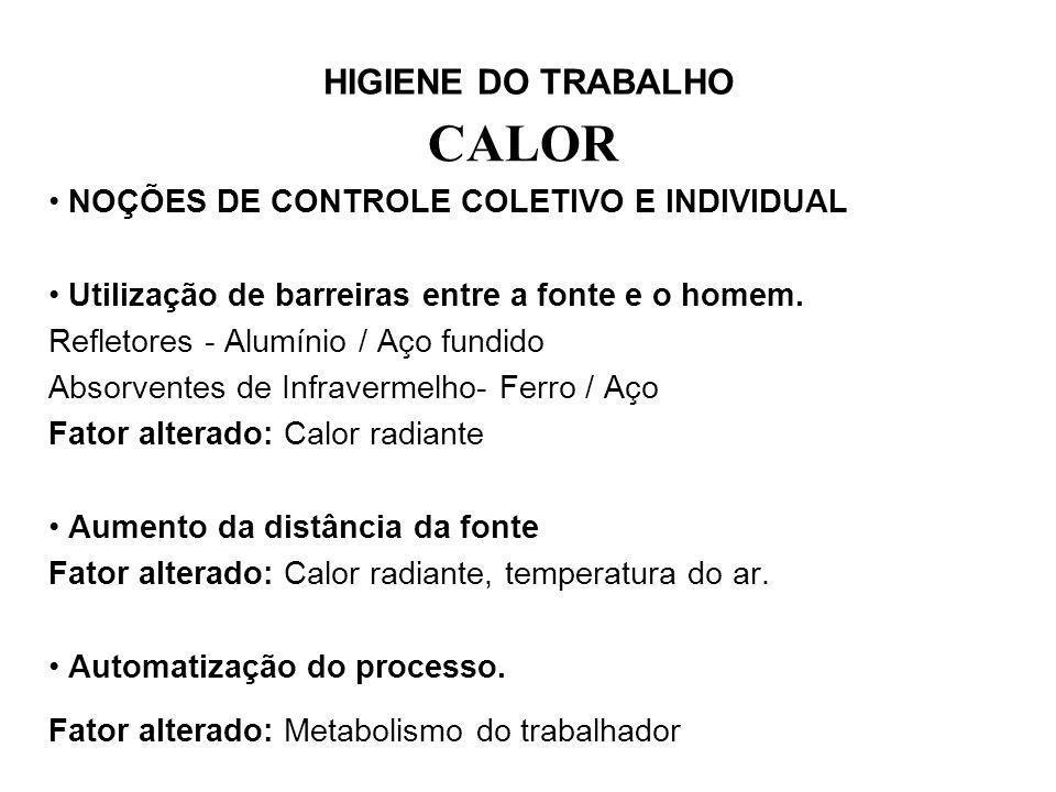 HIGIENE DO TRABALHO CALOR NOÇÕES DE CONTROLE COLETIVO E INDIVIDUAL Utilização de barreiras entre a fonte e o homem. Refletores - Alumínio / Aço fundid