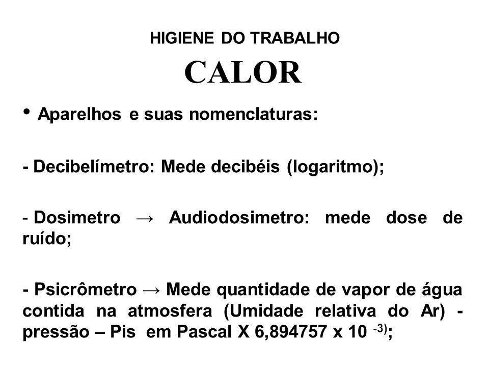 HIGIENE DO TRABALHO CALOR Aparelhos e suas nomenclaturas: - Decibelímetro: Mede decibéis (logaritmo); - Dosimetro Audiodosimetro: mede dose de ruído;
