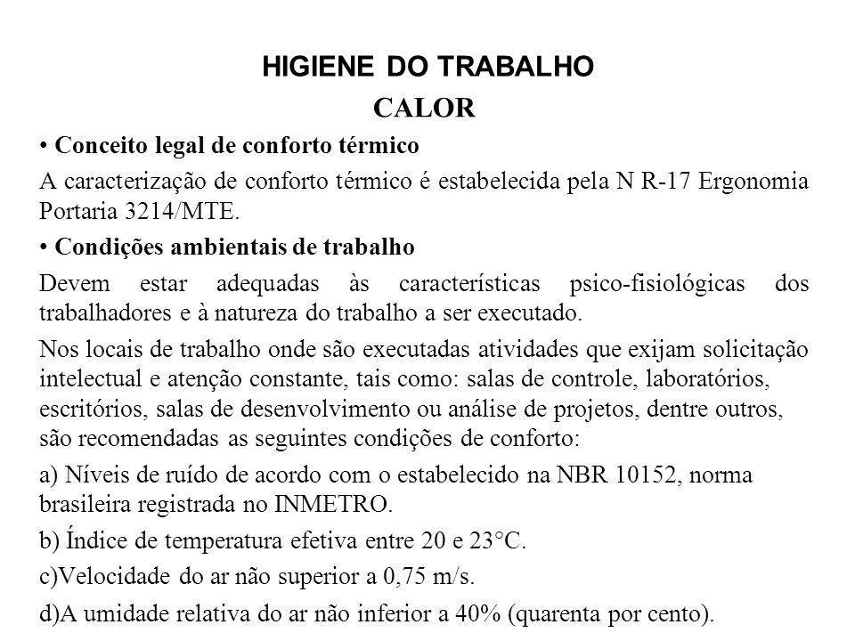 HIGIENE DO TRABALHO CALOR Conceito legal de conforto térmico A caracterização de conforto térmico é estabelecida pela N R-17 Ergonomia Portaria 3214/