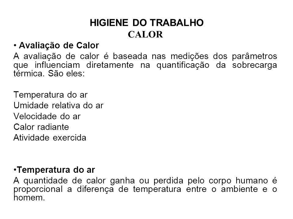 HIGIENE DO TRABALHO CALOR Avaliação Deve ser medida com termômetro de mercúrio comum, mas de funcionamento confiável, permitindo leituras até 1/10 de grau Celsius.