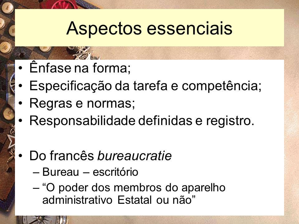4 Aspectos essenciais Ênfase na forma; Especificação da tarefa e competência; Regras e normas; Responsabilidade definidas e registro. Do francês burea