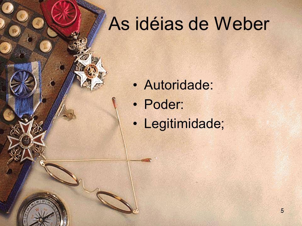 5 Autoridade: Poder: Legitimidade; As idéias de Weber